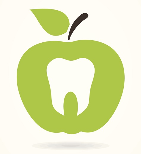 Green Dentistry Apple Symbol with Shadow